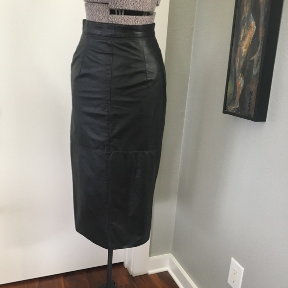 e299add926 80's High Waisted Leather Pencil Skirt w Buttons. M_59eb967f5a49d05ae5048d2b
