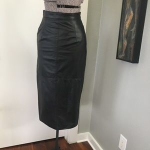 80's High Waisted Leather Pencil Skirt w Buttons