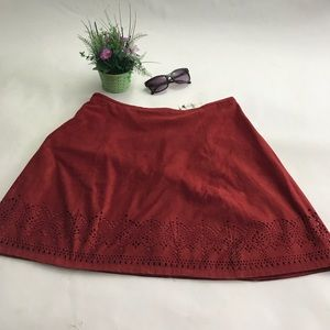 Express a line Leather Suede skirt lined size 10