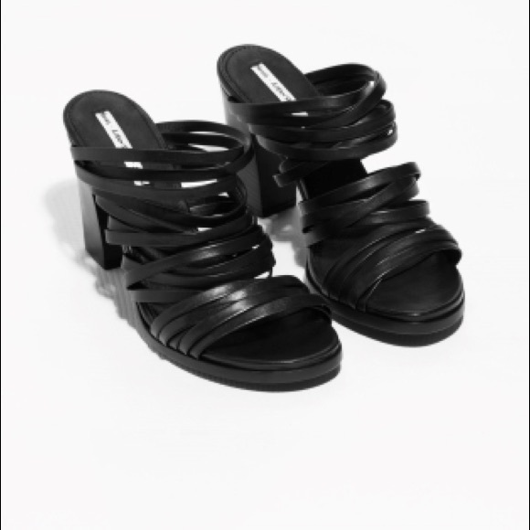 83e75ff12d0 & Other Stories Black Strappy Block Heel Sandals