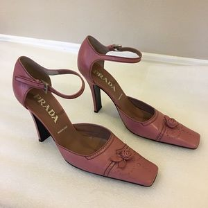 PRADA rose colored ankle strap heels, Italy