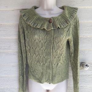 ANTHROPOLOGIE green ruffle neck cardigan sweater!