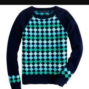 J. Crew Lambswool Diamond Sweater, XS