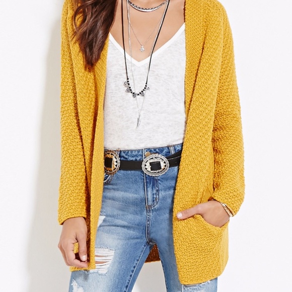 Yellow Gold Cardigan Sweater Baggage Clothing