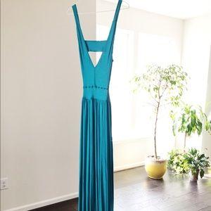 Bebe Teal Maxi Dress With Deep V Neck