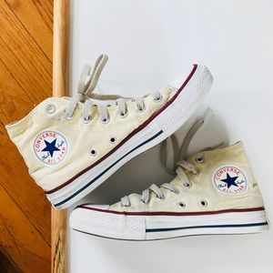 •Like New• Creme hightop converses