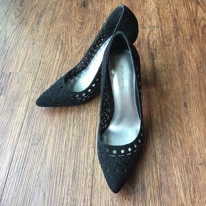 BCBG Black Suede Perforated Heels EUC