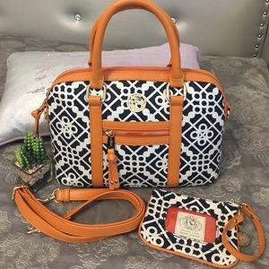 NWOT Spartina 449 satchel with matching wristlet