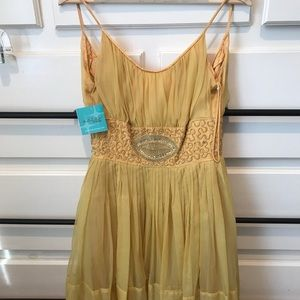 Vintage yellow embroidered dress