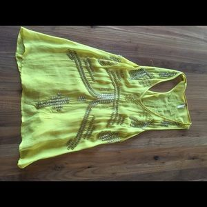 Yellow Free People Sequin Tank Top