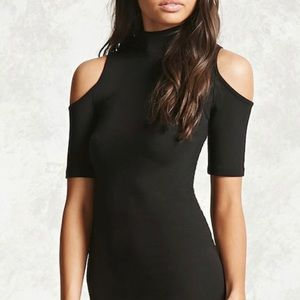 Forever21 cold shoulder body con dress knee length