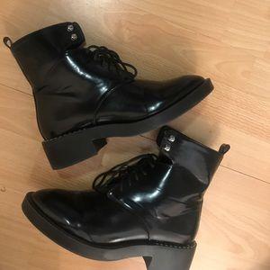 Patent leather Zara combat boots
