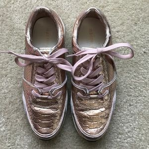 "Rose Gold Leather Snakeskin ""Ashleigh"" Sneaker"
