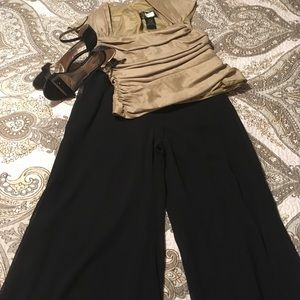 Palazzo pants and gold evening top.