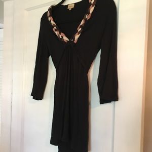Ella moss tunic with braided neckline