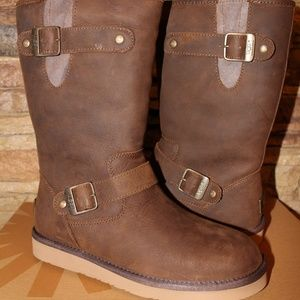 UGG LEATHER WATER RESISTANT MOTO BUCKLE BOOTS