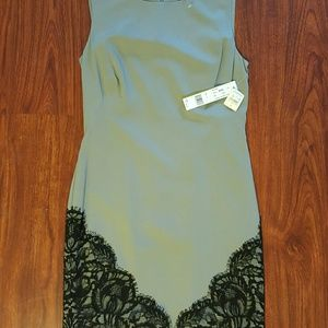 NWT Nicole Miller  Gray and black Lace Dress US4
