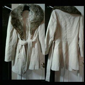 Wool Coat with Rabbit Fur Collar