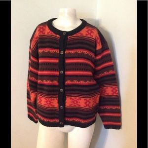 J. Crew Fair Isle Chunky Wool Blanket Sweater M