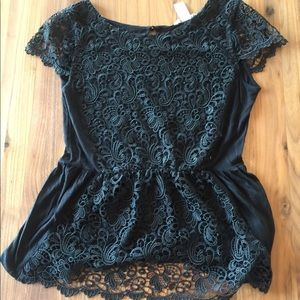 H&M Short Sleeved Black Crochet Blouse