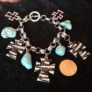 Zebra print cross w/ turquoise rocks