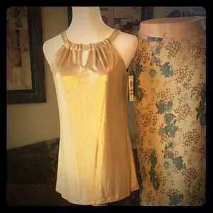 New liquid gold halter top from I.N.C.