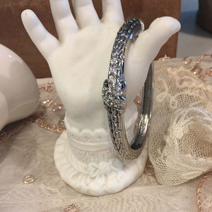 Hinged Cuff With Large Pave X