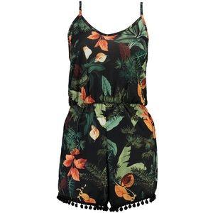 Boho Pom Poms Palm Print Playsuit Romper Dress NWT