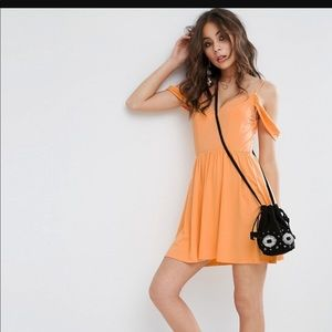 Orange Sundress with Off-the-Shoulder Detail