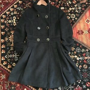 Jackets & Blazers - Navy Coat with Black Gold Trim Buttons