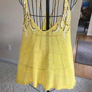 Free People Yellow Crochet Cami Small