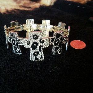 Leopard print cross stretch bracelet
