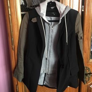 Blazer with sweatshirt hood size small