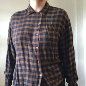 Vintage 90's rayon plaid button-down shirt