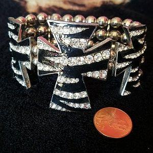 Large zebra print w/bling 3 cross bracelet