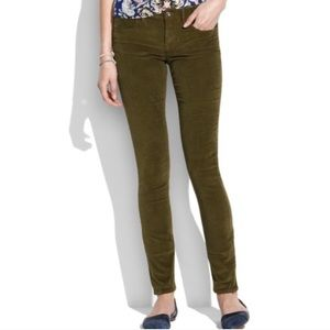 Madewell army green skinny corduroy pants