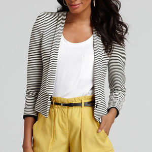 BCBG Black White Striped Cropped Hendrix Blazer XS