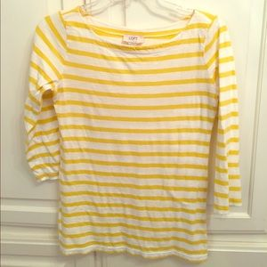 LOFT yellow white striped top