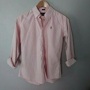 Ralph Lauren pink & white stripe top