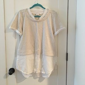 Anthropologie beige and white mixed fabric top