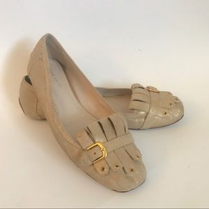 Kate Spade Gold Metallic Buckle Loafers