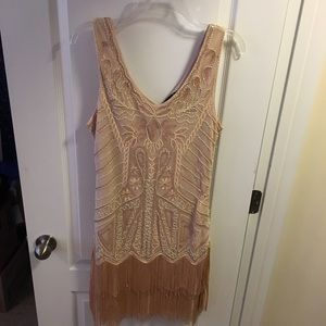 Beige Flapper Costume Dress