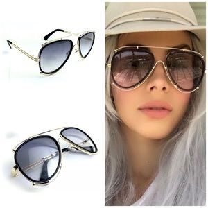 ✨New! Trendy Gold Rim Black Aviator Sunnies