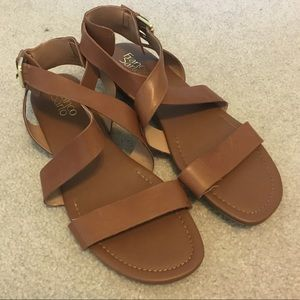 Wide brown strappy sandals