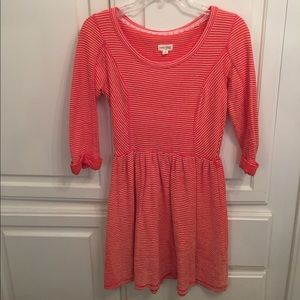 Great for Fall! Orange dress with white stripes