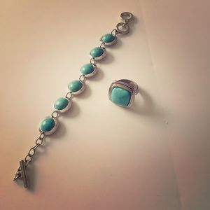 Turquoise and silver bracket and ring  set