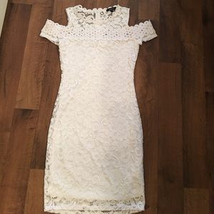 White lace off the shoulder dress!