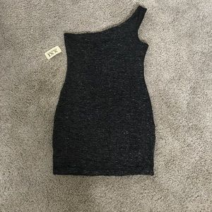 Lg. One shoulder Black/silver mini-dress.