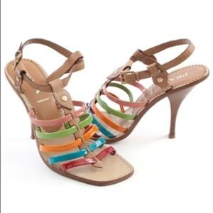New Prada Multi Color Strappy Sandal - Heels