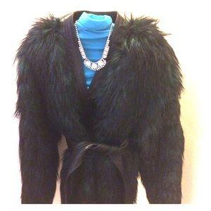 Balmain h&m green faux fur